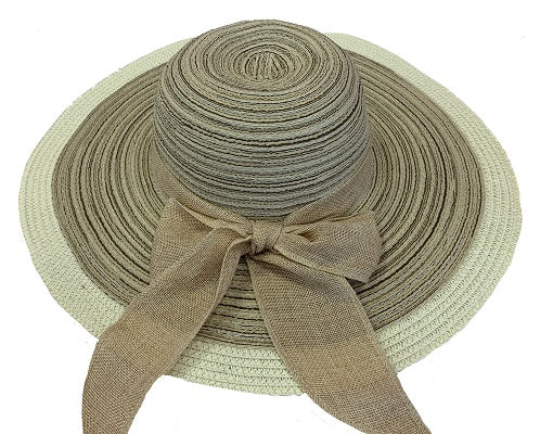 Striped Floppy With Bow Ribbon - Tan - CeCe Fashion Boutique