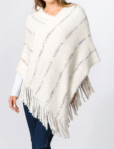Poncho with Fringes (5 Colors) - CeCe Fashion Boutique