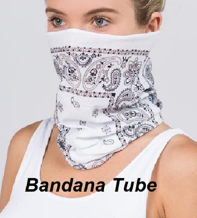 Bandana Tube Mask (White) - CeCe Fashion Boutique