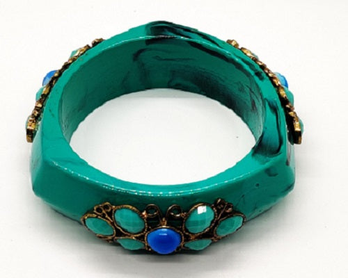 Turquoise Bangle Bracelet with Beads - CeCe Fashion Boutique