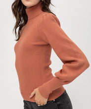 Load image into Gallery viewer, Rib Puff Sleeve Sweater (Terra Cotta) - CeCe Fashion Boutique