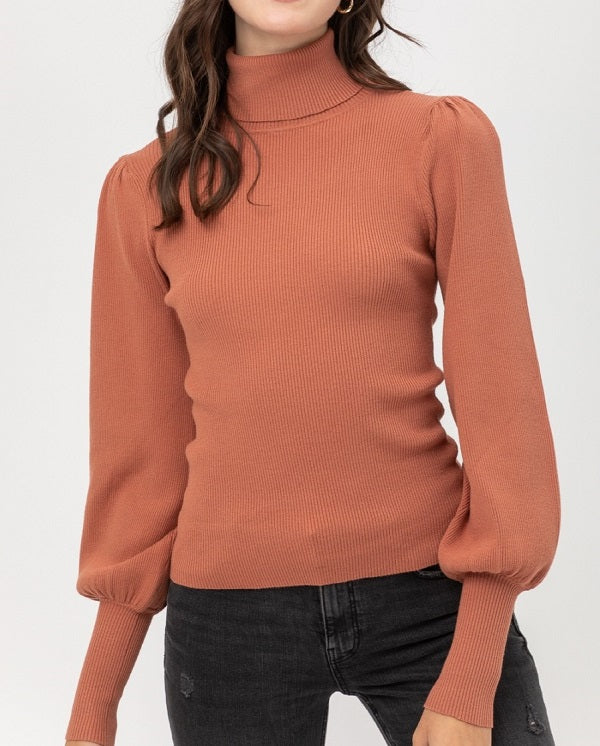 Rib Puff Sleeve Sweater (Terra Cotta) - CeCe Fashion Boutique