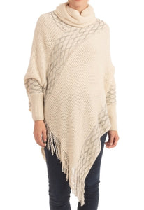 Turtleneck Poncho with Sleeves (5 Colors) - CeCe Fashion Boutique