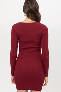 Long Sleeve Rib Dress (Deep Berry) - CeCe Fashion Boutique