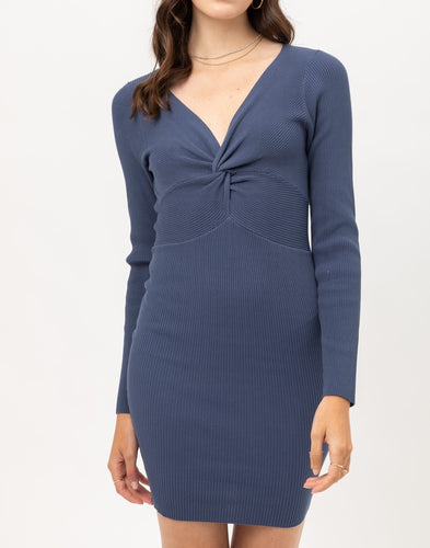 Long Sleeve Rib Dress (Blue Stone) - CeCe Fashion Boutique
