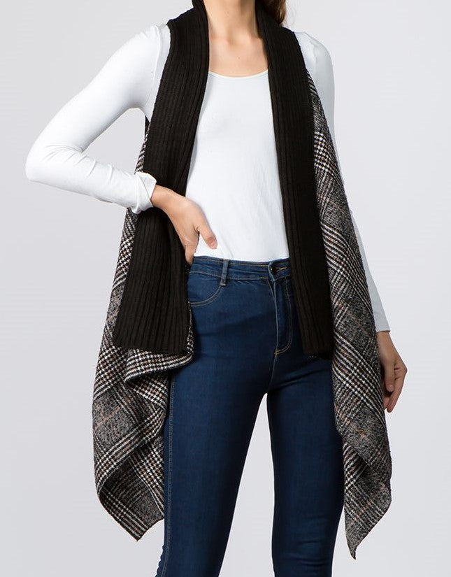 Plaid Vest w/ Knitt Scarf Trim (Black) - CeCe Fashion Boutique