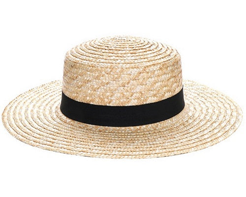 Straw Boater Hat with Black Band Hat - Beige - CeCe Fashion Boutique