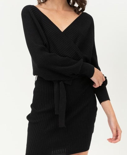 Shoulder Wrap Belted Ribbed Knit Dress (Black) - CeCe Fashion Boutique
