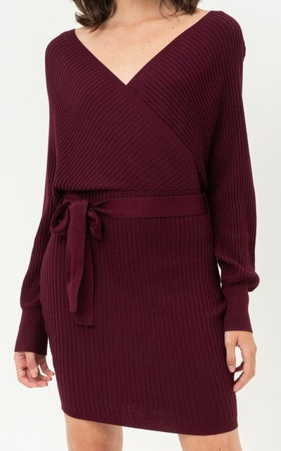 Shoulder Wrap Belted Ribbed Knit Dress (Wine) - CeCe Fashion Boutique