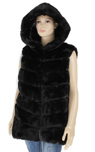 Fur Vest with Hood (3 Colors) - CeCe Fashion Boutique