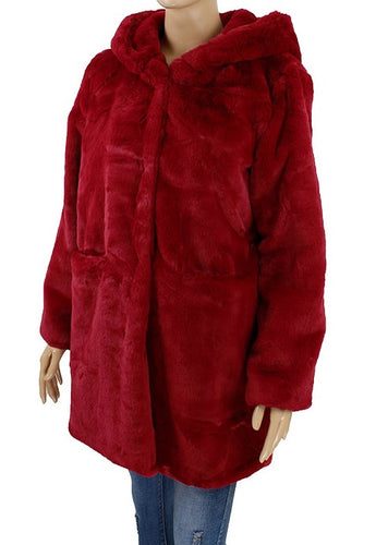 Faux Fur Coat - Burgundy - CeCe Fashion Boutique