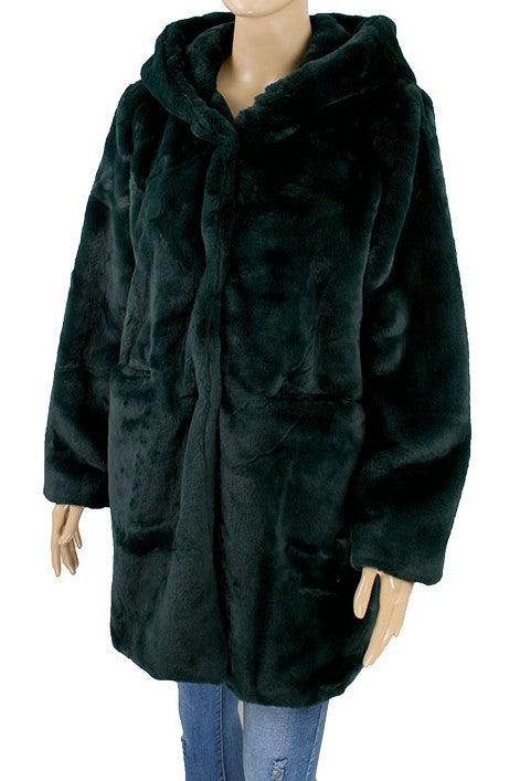 Faux Fur Coat - Dark Green - CeCe Fashion Boutique