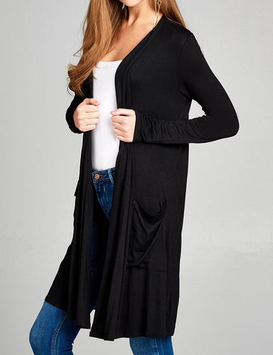 Solid Long Sleeve Open Front Cardigan - Black - CeCe Fashion Boutique