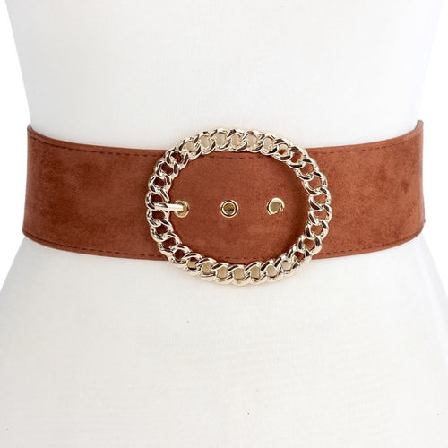 Elastic Belt with Oval Chain Buckle - Brown - CeCe Fashion Boutique