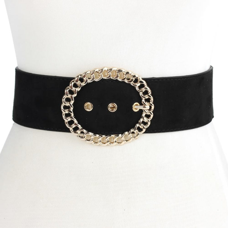 Elastic Belt with Oval Chain Buckle - Black - CeCe Fashion Boutique