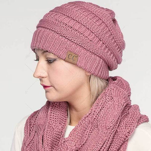 C.C. Solid Ribbed Knitted Beanie - CeCe Fashion Boutique