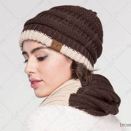 C.C. Two Tone Striped Beanie - CeCe Fashion Boutique