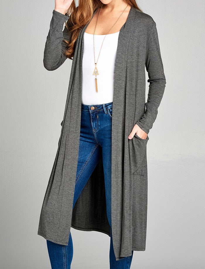 Solid Long Sleeve Open Front Cardigan - Charcoal Grey - CeCe Fashion Boutique