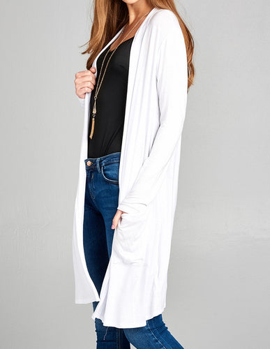 Solid Long Sleeve Open Front Cardigan - White - CeCe Fashion Boutique