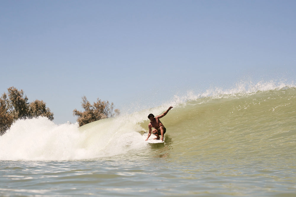 Jared Mell going left at the Surf Ranch