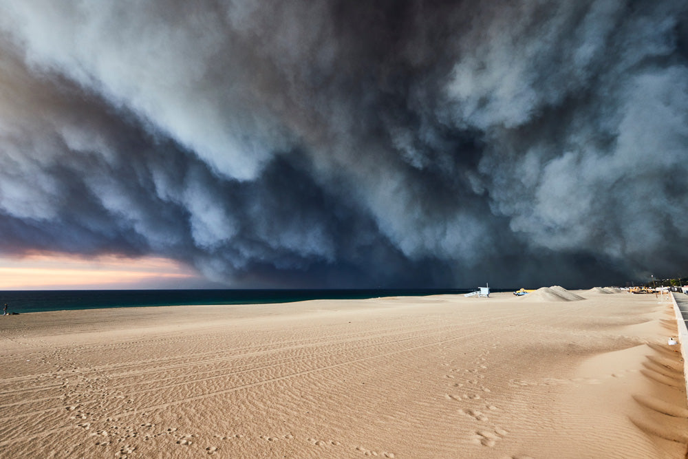 Smoke over Zuma Beach from Woolsey Fire by Steven Lippman