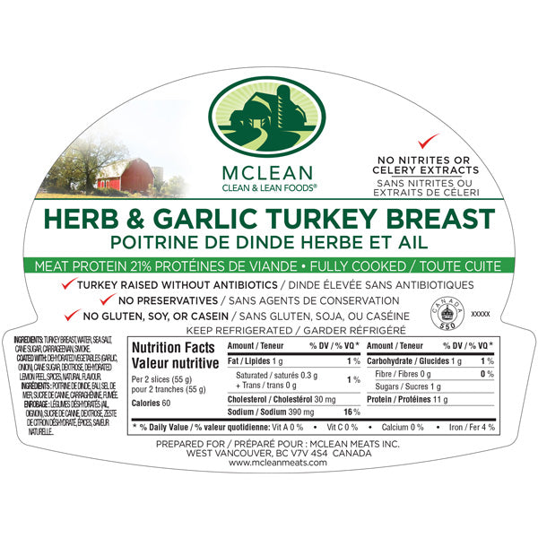 Mcleans Garlic and Herb Turkey 200g