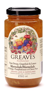 Greaves Orange Grapefruit Lemon Marmalade 250mL