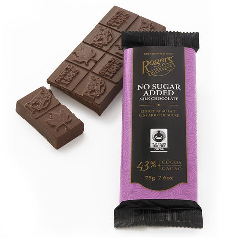 Roger's No Sugar Added Milk Chocolate Bar 75g