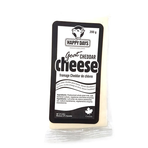 Happy Days Goat Cheddar Cheese 200g
