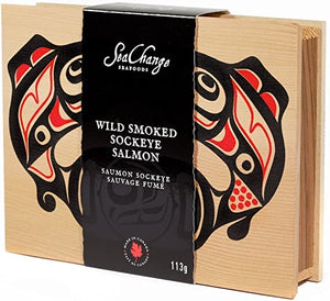 Sea Change Wild Smoked Sockeye Salmon - 113g - Wooden Box