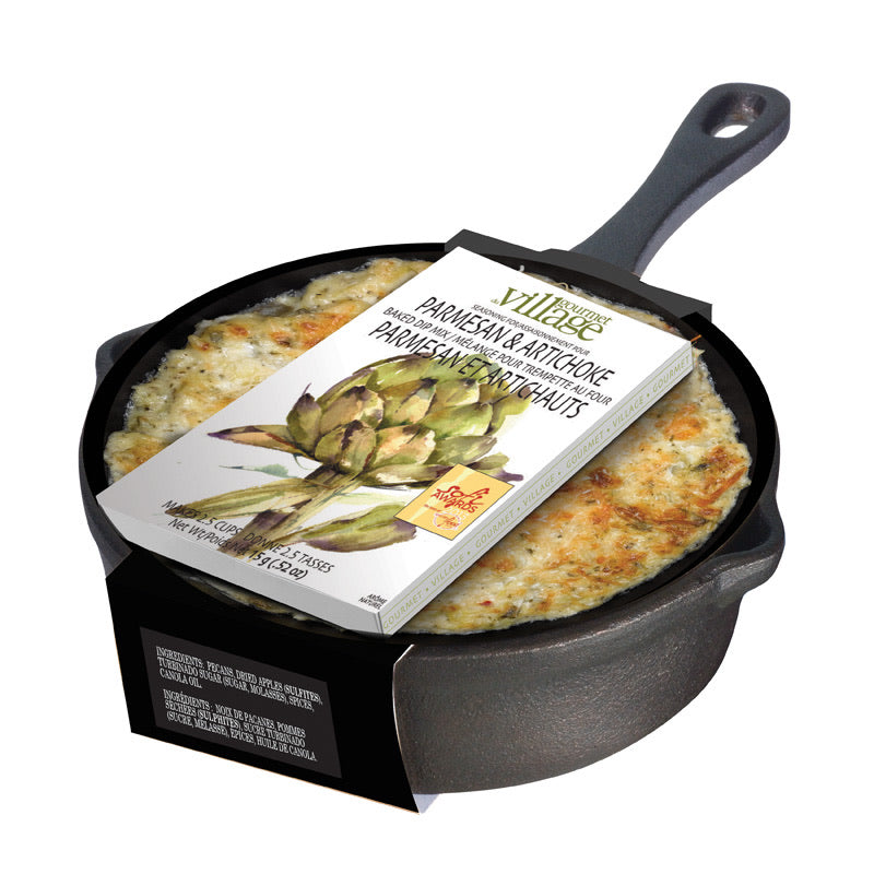 Gourmet Village Cast Iron Pan with Parmasean and Artichoke Dip