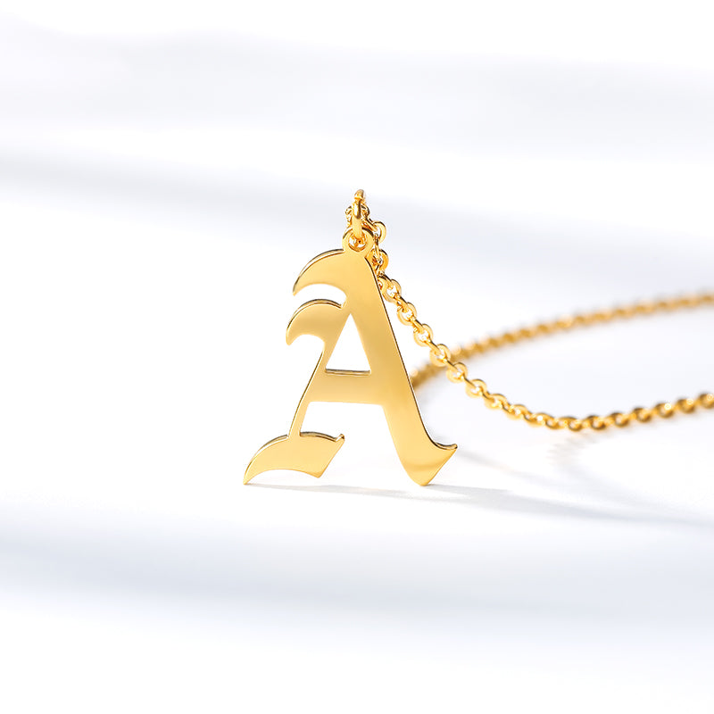 Old English Initial Necklace - Pine Jewellery