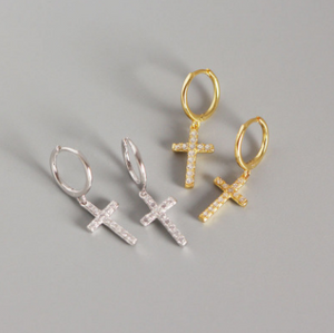 Cross Huggies - Pine Jewellery