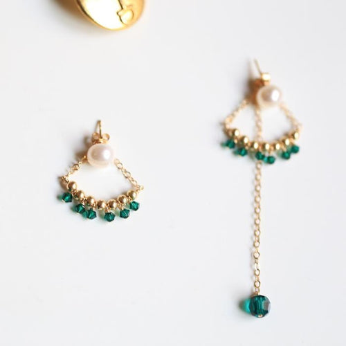Asymmetric Emerald Earrings - Pine Jewellery