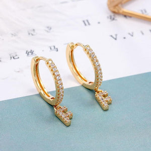 Initial Hoop Earrings - Pine Jewellery
