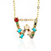 Load image into Gallery viewer, Multicolour Initial Necklace - Pine Jewellery
