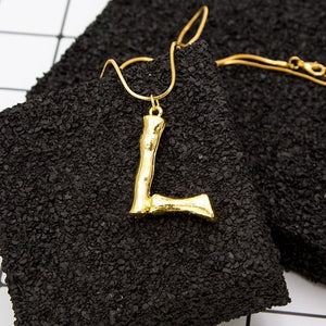 Bamboo Initial Necklace - Pine Jewellery