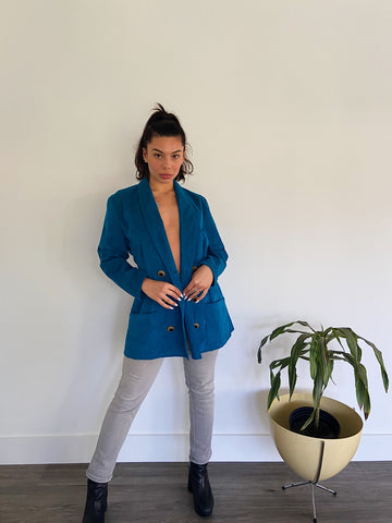 Mayda Cisneros Turquoise Ultra Suede Jacket
