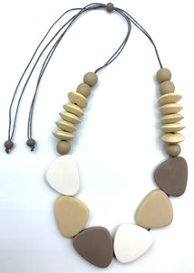 Wood Disc and Resin Adjustable Necklaces