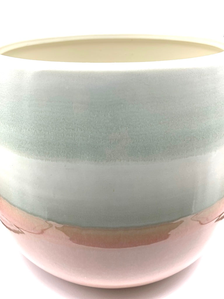 Home Styling Pink, Grey and White Gloss Ceramic Planter