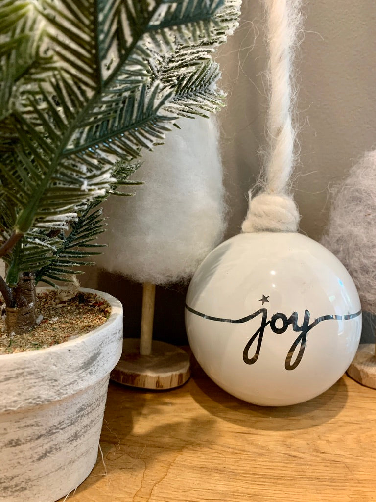 White Christmas Bauble With Silver Joy