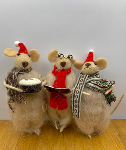 Set of 3 Christmas Carolling Mice