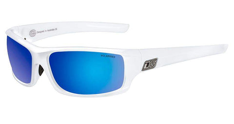 DD Clank-White-Grey|Blue Fusion Mirror Polarised Sunglasses Dirty Dogs