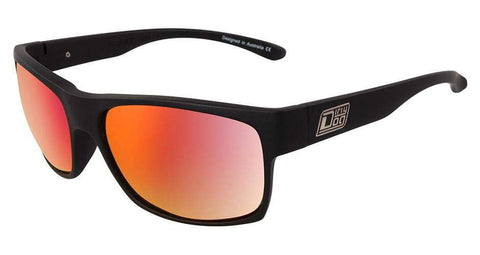 DD Furnace Satin Black Red Fusion Polarised Sunglasses Dirty Dogs