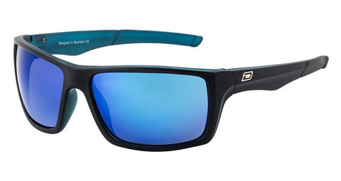 DD Primp-Satin Black-Xtal Blue-Grey|Blue Fusion Mirror Polarised Sunglasses Dirty Dogs