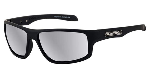 DD Quantum Satin Black/Silver Mirror Polarised Sunglasses Dirty Dogs