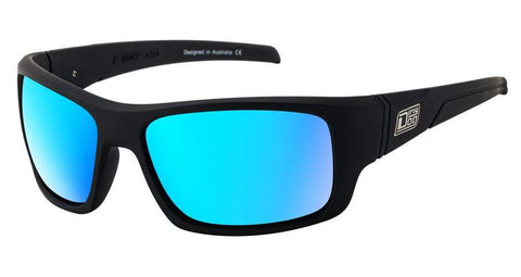 DD Stray Satin Black Ice Blue Mirror Polarised Sunglasses Dirty Dogs