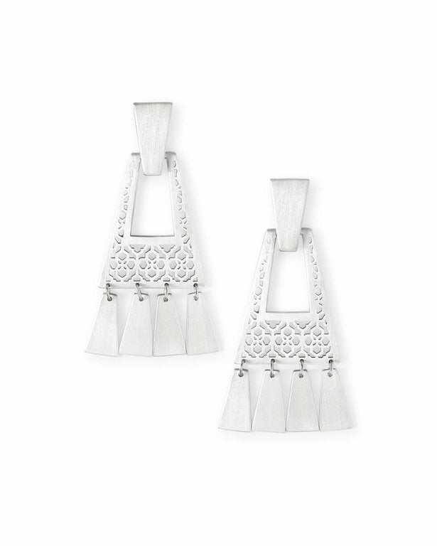 Kendra Scott Kase Silver Fringe Earrings