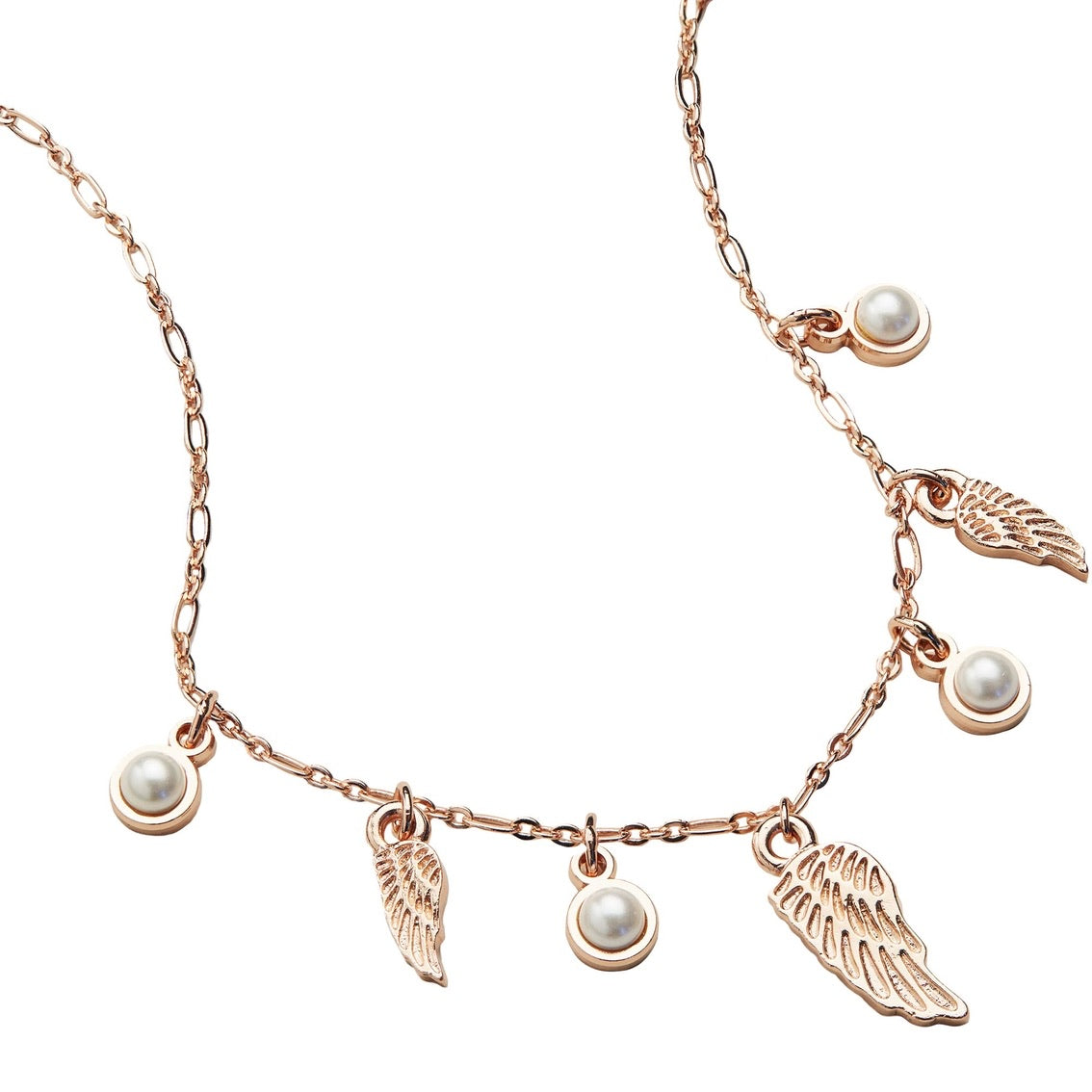 ALEX AND ANI Angel Wing & Pearl Delicate Adjustable Necklace Shiny Rose Gold