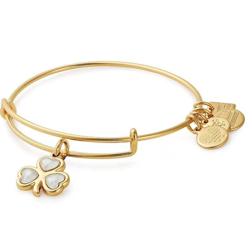 ALEX AND ANI Crystal Shamrock Charm Bangle